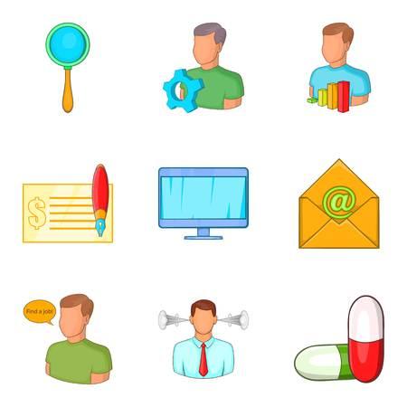 Grub icons set, cartoon style Illustration