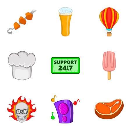 Distribution of food icons set, cartoon style