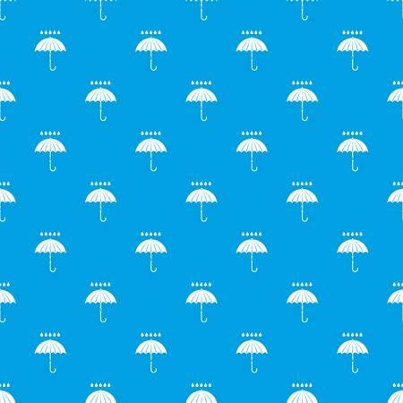 Paraplu en regen druppels patroon naadloos blauw Stock Illustratie