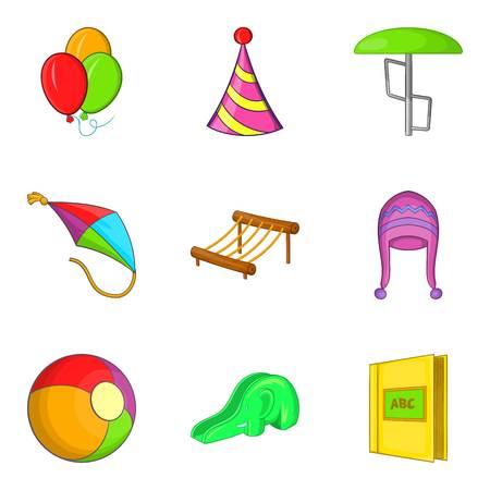 car wash: Shallow icons set, cartoon style Illustration