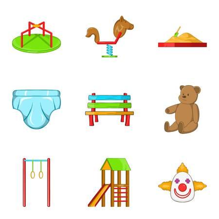car wash: Great playground icons set, cartoon style