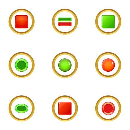 Button icons set, cartoon style Illustration