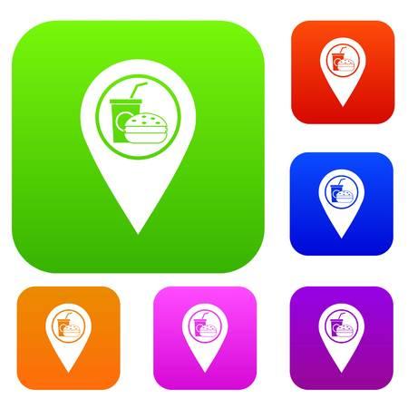 Il puntatore della mappa del fast food e del ristorante ha fissato la raccolta di colori