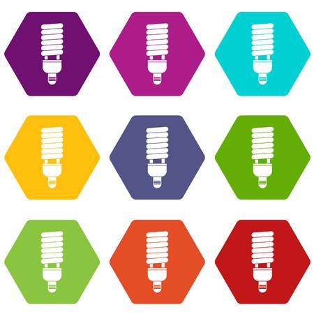 Fluorescent bulb icon set color hexahedron
