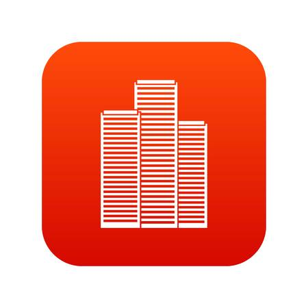 Skyscrapers icon digital red