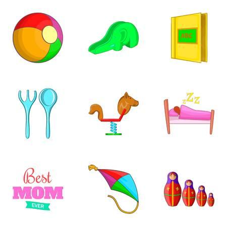 car wash: Babycare icons set, cartoon style Illustration