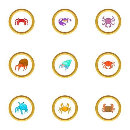 Crustacean icons set, cartoon style Illustration