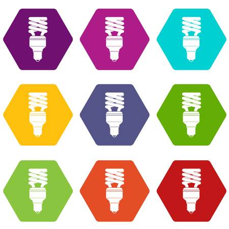 Energy saving bulb icon set color hexahedron