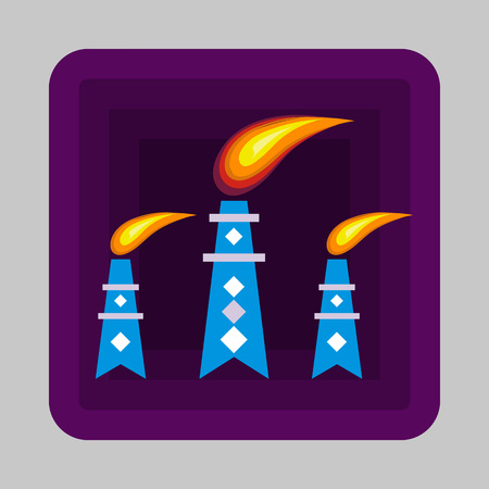 Petrol flame tower concept background, cartoon style