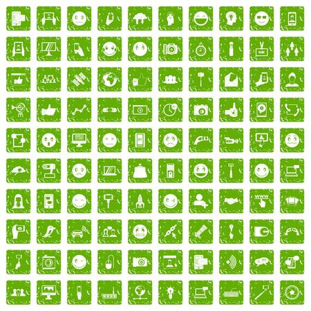 100 social media icons set grunge green