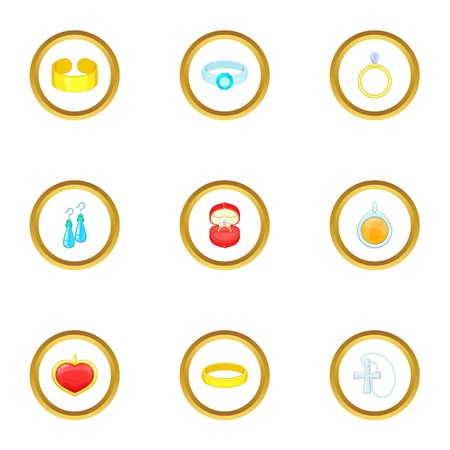 Women jewelry icons set. Cartoon style set of 9 women jewelry vector icons for web design Illustration