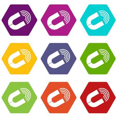 Horseshoe magnet icon set color hexahedron Illustration