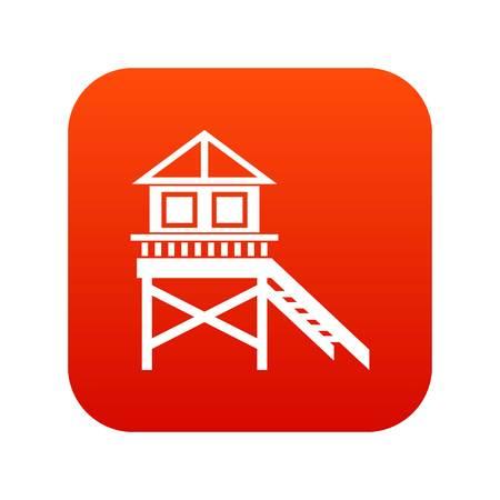 wooden post: Wooden stilt house icon digital red for any design isolated on white vector illustration Illustration