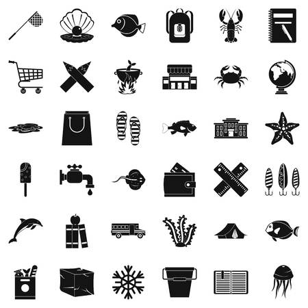 Basket icons set. Simple style of 36 basket vector icons for web isolated on white background