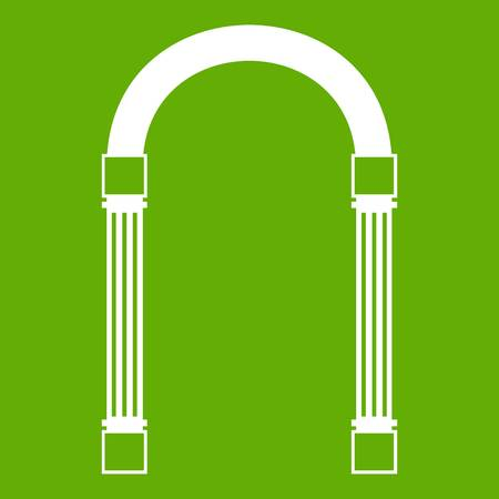 Arch icon white isolated on green background. Vector illustration