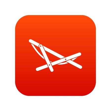 비치 chaise 아이콘 디지털 빨간색 흰색 벡터 일러스트 레이 션에서 고립 된 디자인 일러스트