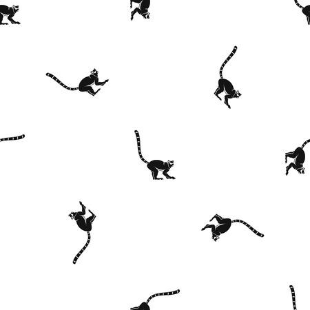 Scimmia di lemure ripetizione senza cuciture in colore nero per qualsiasi disegno. Illustrazione geometrica vettoriale