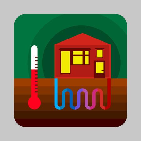 Huis thermische energie concept achtergrond. Beeldverhaalillustratie van vector het conceptenachtergrond van de huis thermische energie voor Webontwerp Stock Illustratie