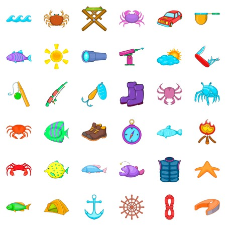 Fishing icons set. Cartoon style of 36 fishing vector icons for web isolated on white background
