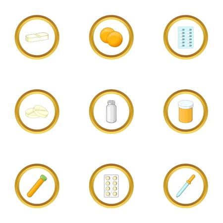 Drug form icons set. Cartoon style set of 9 drug form vector icons for web design