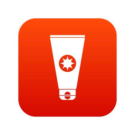Tube with sunbathing cream icon digital red for any design isolated on white vector illustration
