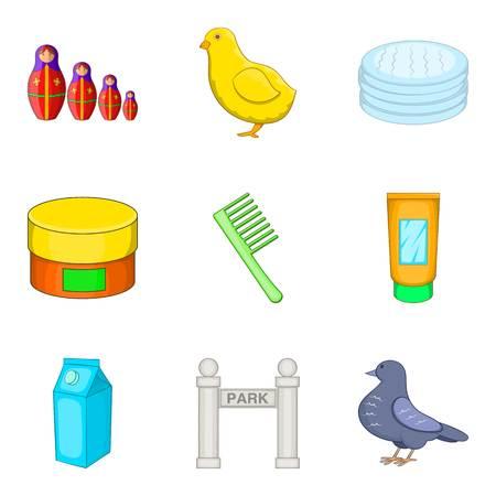 car wash: Feeding in park icons set, cartoon style