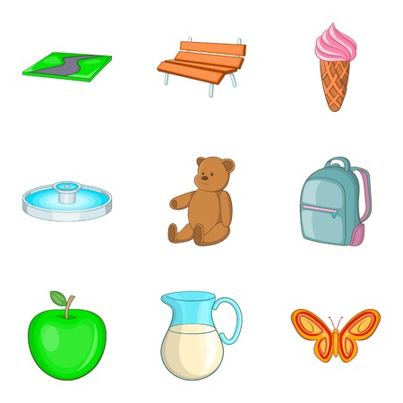 car wash: Child paddock icons set. Cartoon set of 9 child paddock vector icons for web isolated on white background Illustration