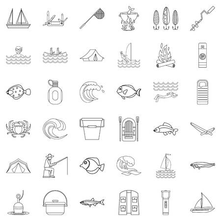 Fishing icons set, outline style