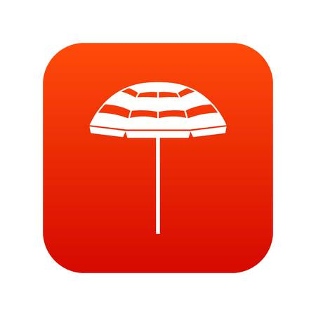 Beach umbrella icon digital red for any design isolated on white vector illustration