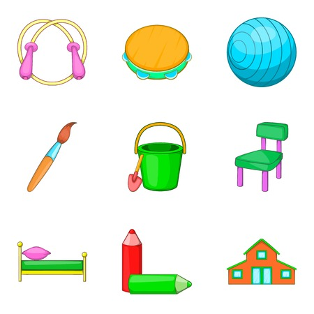 car wash: Stuff to education icons set, cartoon style Illustration