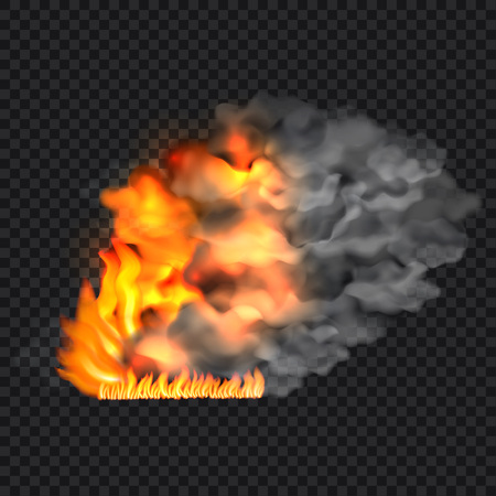 Fire and smoke concept background, realistic style
