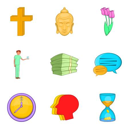 Indulgence icons set, cartoon style Illustration