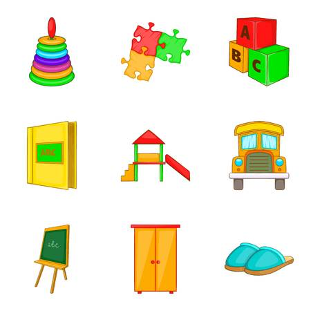 car wash: School game icons set. Cartoon set of 9 school game vector icons for web isolated on white background