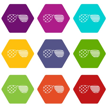 American glasses icon set color hexahedron