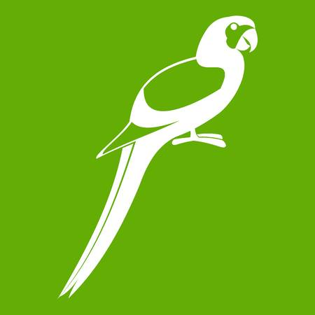 Parrot icon white isolated on green background. Vector illustration