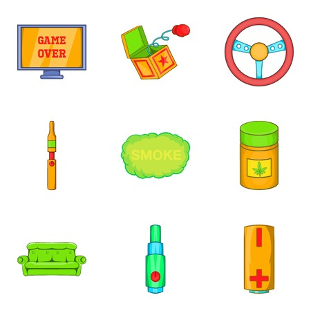 Drug icons set. Cartoon set of 9 drug vector icons for web isolated on white background Çizim