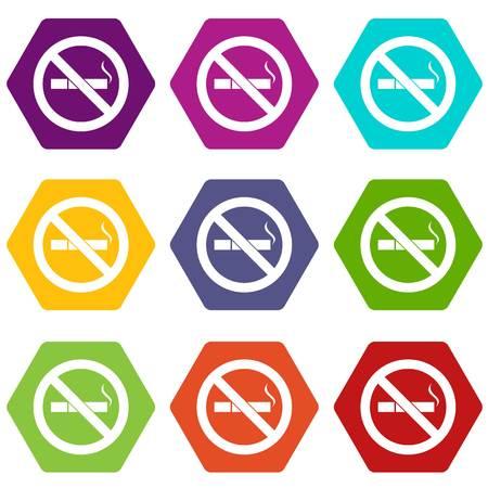 pernicious habit: No smoking sign icon set many color hexahedron isolated on white vector illustration Illustration