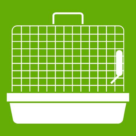 Cage for birds icon white isolated on green background. Vector illustration Ilustrace