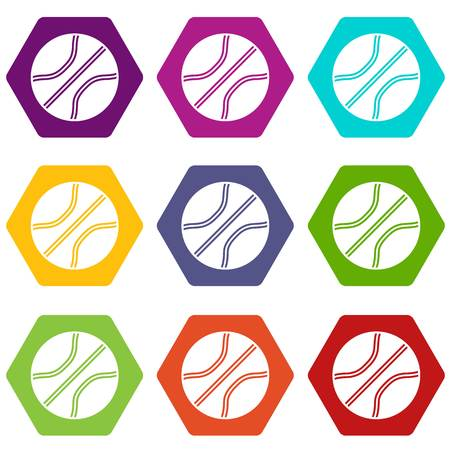 Basketball ball icon set many color hexahedron isolated on white vector illustration