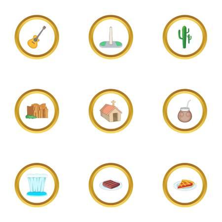 Ensemble d'icônes de voyage en Argentine. Ensemble de style bande dessinée de 9 icônes vectorielles de voyage en Argentine pour la conception web