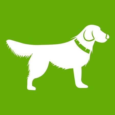Dog icon white isolated on green background. Vector illustration Stock Photo