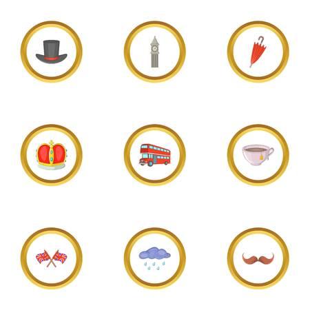 british culture: London city elements icons set. Cartoon style set of 9 London city elements vector icons for web design