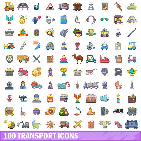 car wash: 100 transport icons set, cartoon style