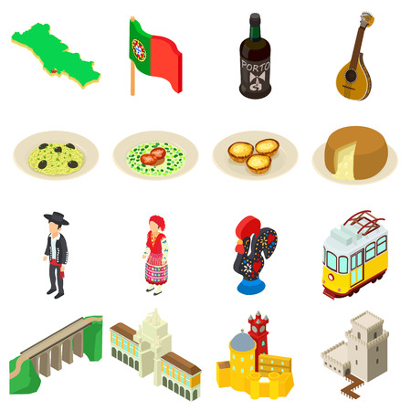 Portugal travel icons set. Isometric illustration of 16 Portugal travel vector icons for web