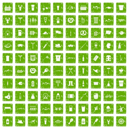 100 beer icons set in grunge style green color isolated on white background vector illustration