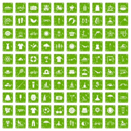 100 summer icons set in grunge style green color isolated on white background vector illustration
