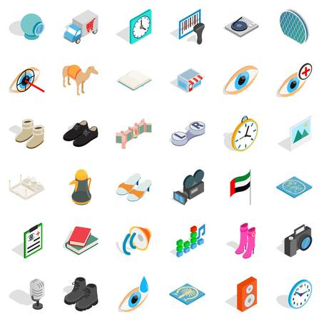 Many dollar icons set. Isometric style of 36 many dollar vector icons for web isolated on white background