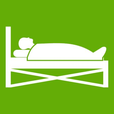lying in bed: Patient in bed in hospital icon white isolated on green background. Vector illustration