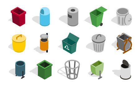 collect: Type of street office can icon set. Isometric set of type of street office can vector icons for web isolated on white background Illustration
