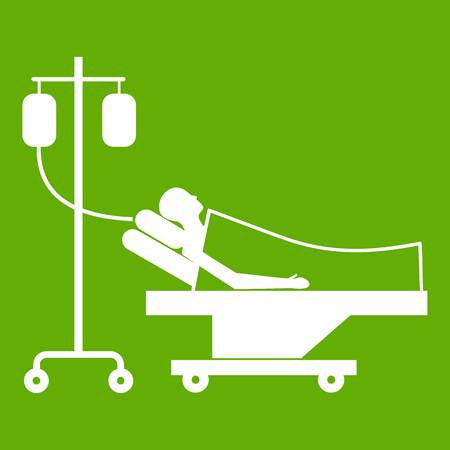 lying in bed: Patient in bed on a drip icon white isolated on green background. Vector illustration